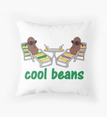 Funny Cool Beans in Beach Chairs and Shades Throw Pillow