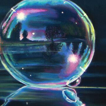 Landscape reflected on a soap bubble reflected on water by Hopemartinart
