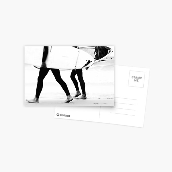 Catch a Wave - Black and White Surfers and Surf Boards - Beach Ocean Sea photography by Ingrid Beddoes Postcard