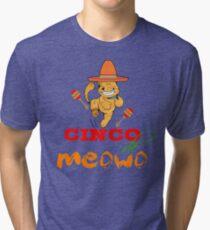 Funny Cinco De Meowo T-Shirt  Cat dancing Tri-blend T-Shirt