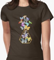 Butterfly gold wire terrarium against whitewashed wood T-Shirt