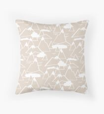 Mountain Scene in Beige Throw Pillow
