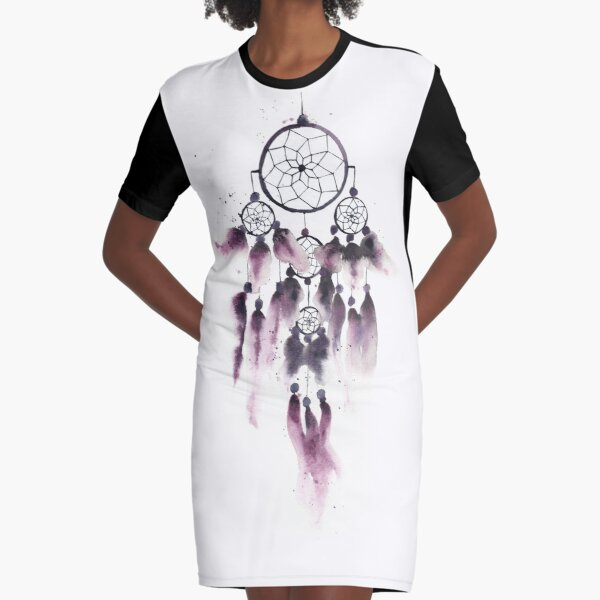 Dreamcatcher With Purple Feathers  Graphic T-Shirt Dress