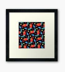 80s Squiggle Dance Pattern Framed Print