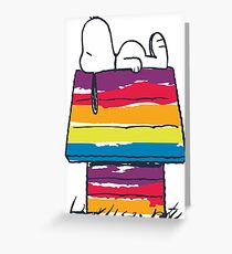 snoopy and rainbow Greeting Card