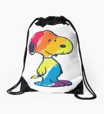 rainbow snoopy Drawstring Bag