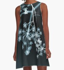 Midnight Glow. Dark Floral A-Line Dress