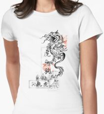 Asian Calligraphy Dragon Wave Symbol  Womens Fitted T-Shirt
