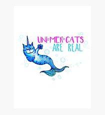 Unimercats are real (unicorn, mermaid, cat) Photographic Print