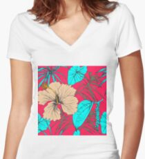 Tropical exotic flowers and leaves Women's Fitted V-Neck T-Shirt