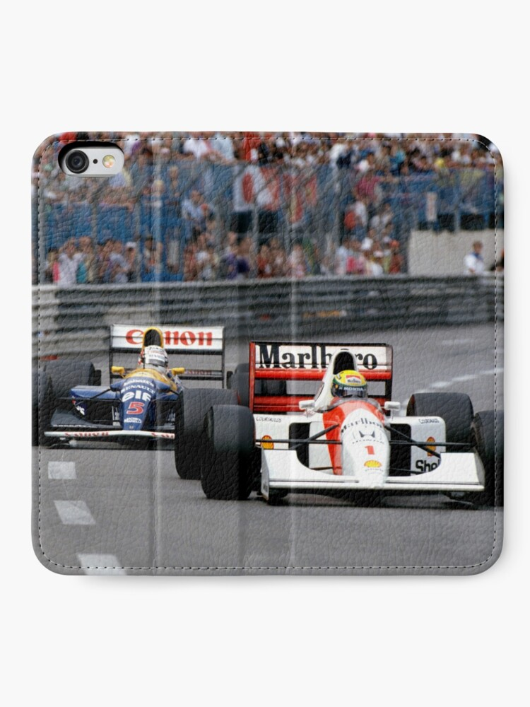 Alternative Ansicht von Ayrton Senna gegen Nigel Mansell in Monaco '92 iPhone Flip-Case