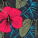 Tropical exotic flowers and leaves by OlgaBerlet