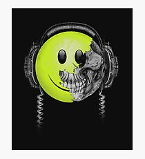 Zombie DJ Smiley Face Photographic Print