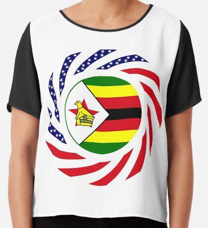 Zimbabwean American Multinational Patriot Flag Series Chiffon Top