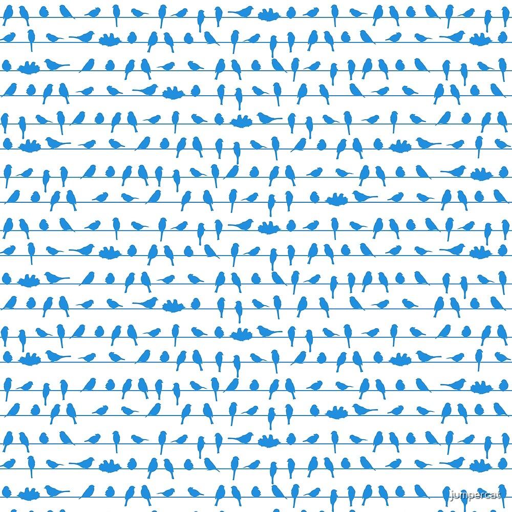 Blue Note Striped Birds by jumpercat
