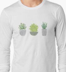 Watercolor Succulent House Plants Long Sleeve T-Shirt