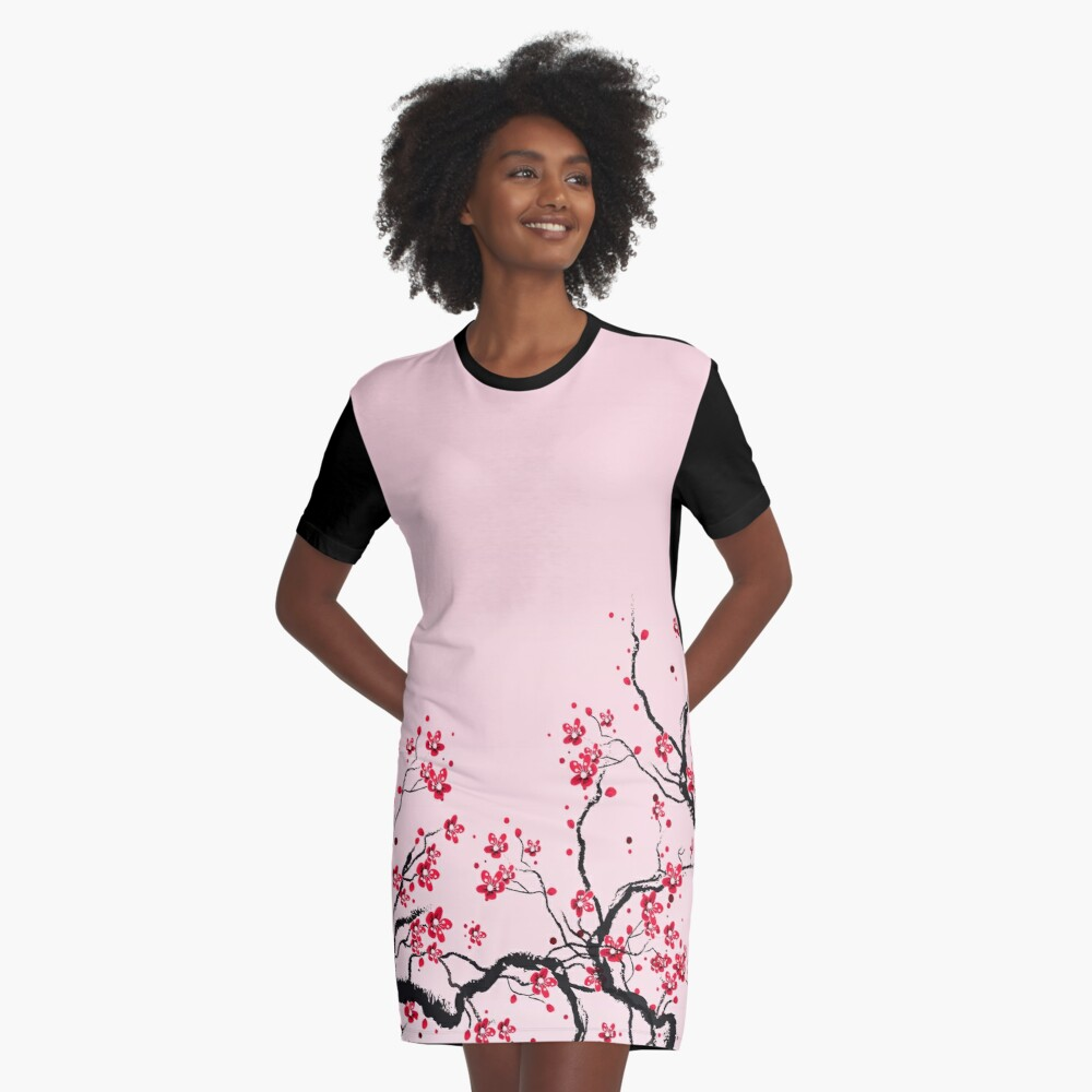 Cherry Blossom Graphic T-Shirt Dress