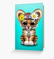 Cute Hippie Tiger Cub Greeting Card