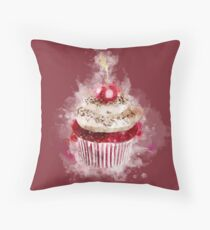 Watercolor Cupcake Throw Pillow
