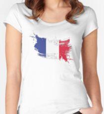 France Flag Brush Splatter Women's Fitted Scoop T-Shirt