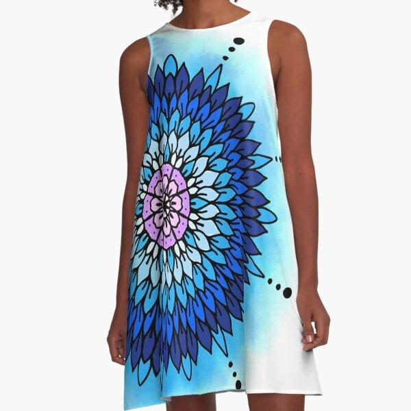 Blue Petals A-Line Dress