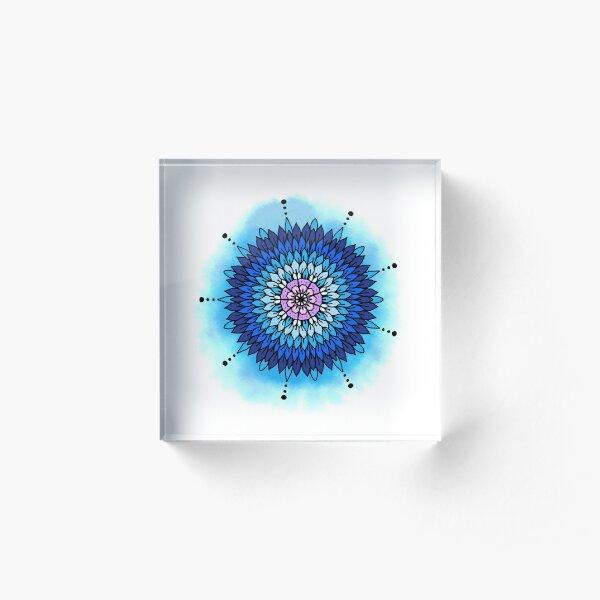 Blue Petals Acrylic Block