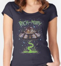 Rick And Morty Spaceship Women's Fitted Scoop T-Shirt