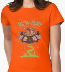 Rick And Morty Spaceship Womens Fitted T-Shirt
