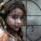 Beautiful little girl thru rails and rainy window by JudyBJ