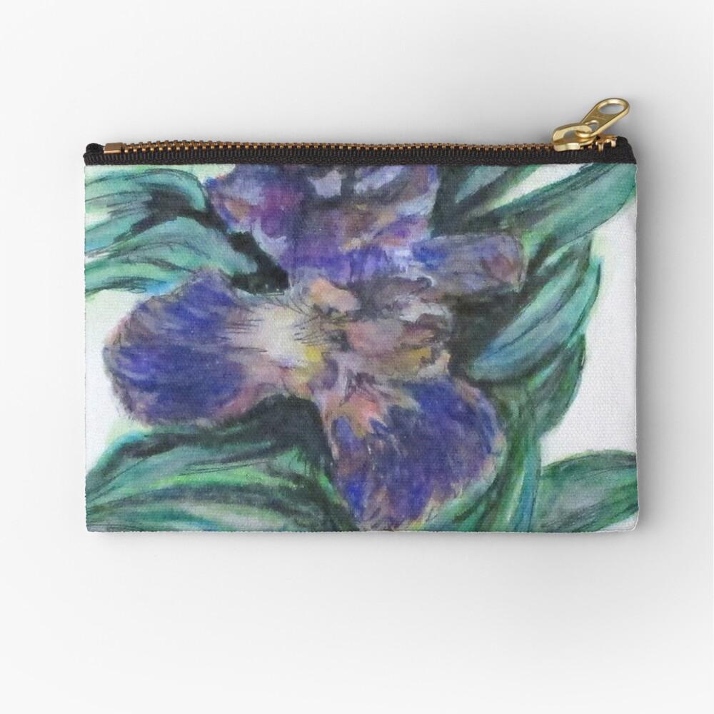 Spring Iris Bloom Zipper Pouch