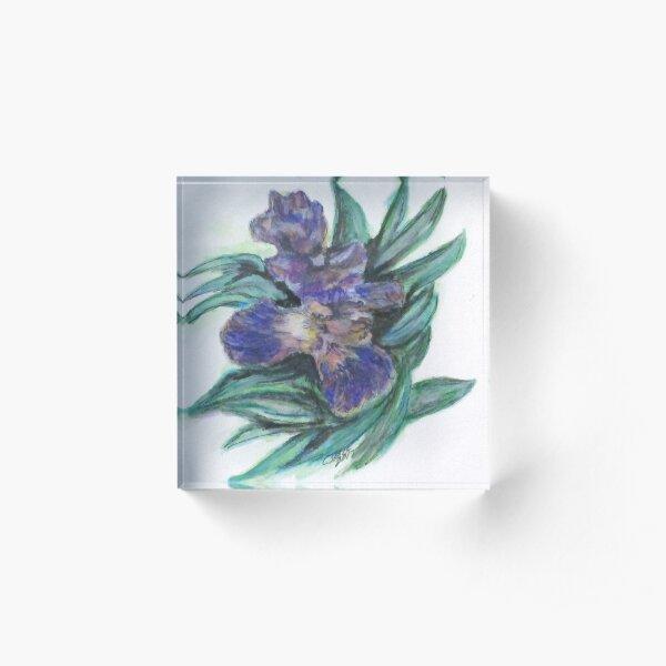 Spring Iris Bloom Acrylic Block