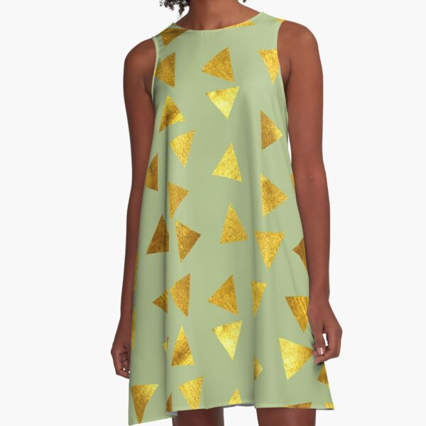 Gold triangle green A-Line Dress