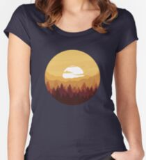 Sunny Forest Landscape Women's Fitted Scoop T-Shirt