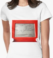 Double Tornado Etch A Sketch Women's Fitted T-Shirt