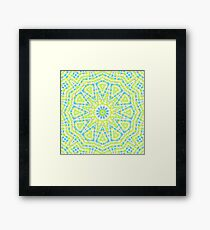 Abstract mosaic pattern . Lemon color and sky blue  Framed Print