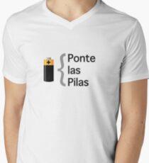 Camiseta de cuello en V Ponte las pilas