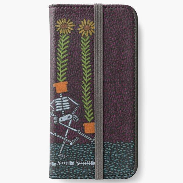 Sonnenblumen-Skelette iPhone Flip-Case
