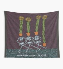 Sunflower Skeletons Wall Tapestry