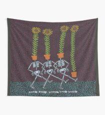 Sunflower Skeletons Wall Tapestry