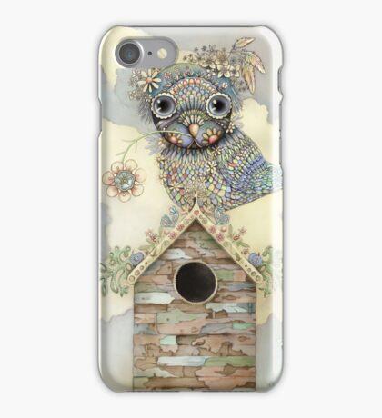 Blue Owl Birdhouse I iPhone Case/Skin