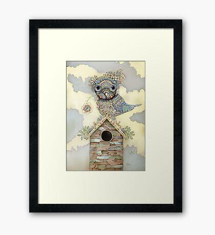 Blue Owl Birdhouse I Framed Print