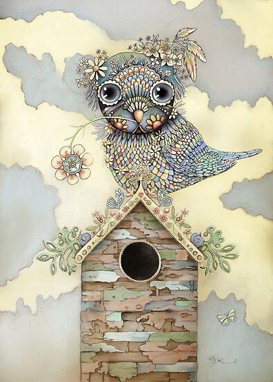 Blue Owl Birdhouse I by Karin Taylor