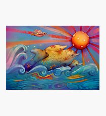 rainbow dolphins Photographic Print