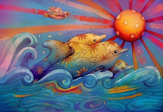 rainbow dolphins by Karin Taylor