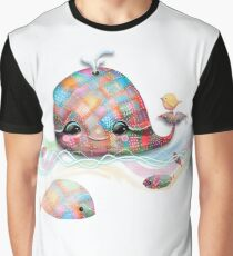 Patchwork Whale Graphic T-Shirt