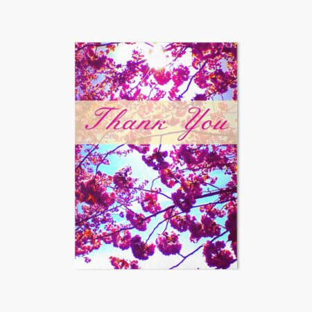 Thank You Cherry Blossoms Art Board Print