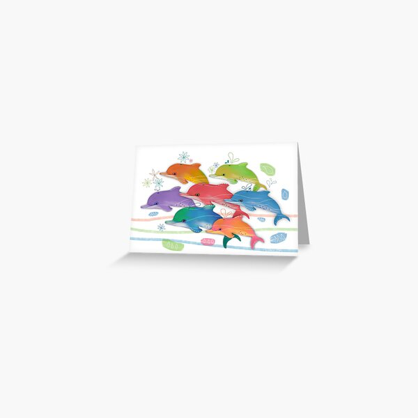 A Rainbow of Dolphins Greeting Card