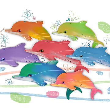 A Rainbow of Dolphins by karin
