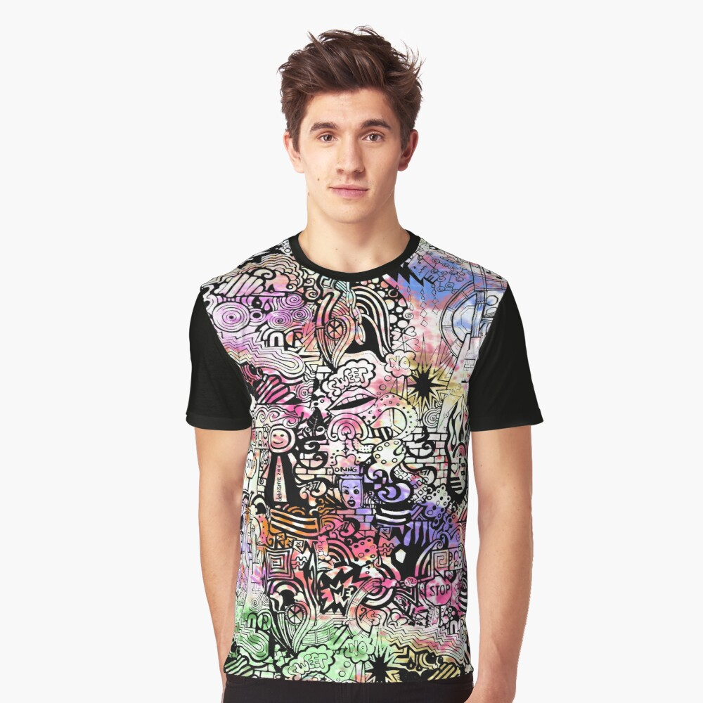 ironic chaos -  (black and white with color) Graphic T-Shirt Front