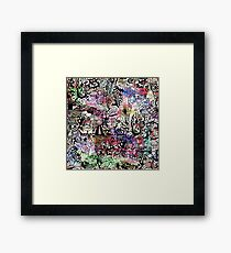 ironic chaos -  (black and white with color) Framed Print